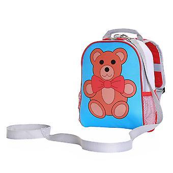 Vaklende skov Teddy buksetrold rygsæk med sikkerhed tøjler, blå/rød