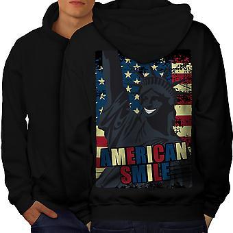 American Freedom Flag Men BlackHoodie Back   Wellcoda