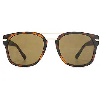 French Connection Metal Bridge Square Sunglasses In Matte Dark Tortoiseshell