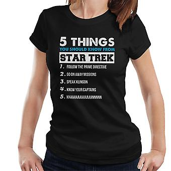 Five Things You Should Know From Star Trek Women's T-Shirt