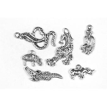 Packet 6 x Antique Silver Tibetan 20-34mm Jungle Charm/Pendant Set ZX17495