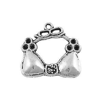 Packet 12 x Antique Silver Tibetan 23mm Bra Charm/Pendant ZX00900