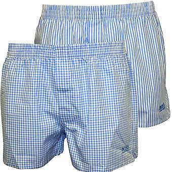 Hugo Boss 2er-Pack-Check & Stripe-Erbe-Boxer-Shorts, himmelblau