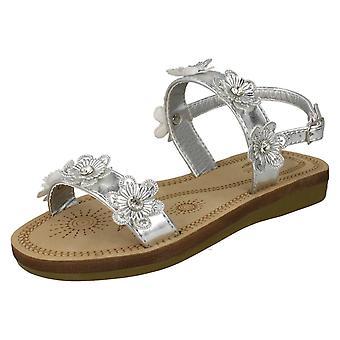 Meisjes plek op Slingback bloemrijke sandalen H0292 - zilveren metalen folie - UK maat 1 - EU maat 33 - US maat 2