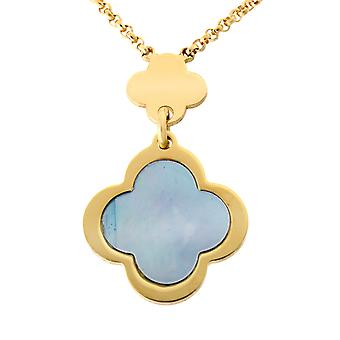 Orphelia Silver 925  Necklace Gold Multiple Flowers Blue Mop  ZK-7169/G