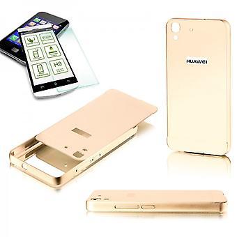 Alu Bumper 2 teilig Gold + 0,3 mm H9 Hartglas für Huawei Y6
