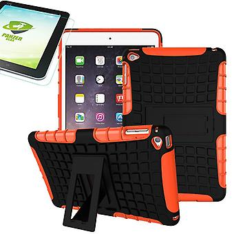For Apple iPad 9.7 2018 hybrid outdoor protective case Orange bag + 0.4 H9 tempered glass