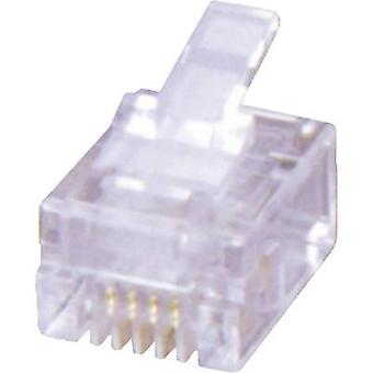 RJ12 modular plug Plug, straight Number of pins: 6P6C MHRJ126P6CR Transparent MH Connectors 6510-0104-04 1 pc(s)
