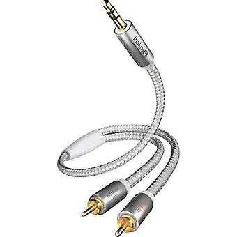 Inakustik RCA / Jack Audio/phono Cable [2x RCA plug (phono) - 1x Jack plug 3.5 mm] 1.50 m White, Silver gold plated connectors