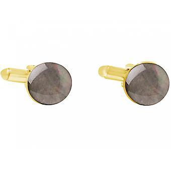 Gemshine - manschettknappar - guld pläterad - mor till Pearl - grå - 12 mm