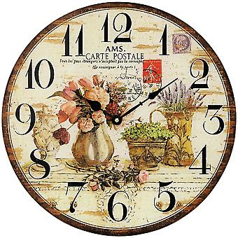 AMS 9466 wall clock quartz mineral glass printed with wood-look