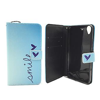 Mobile phone case pouch for mobile WIKO pulp lettering smile Blau