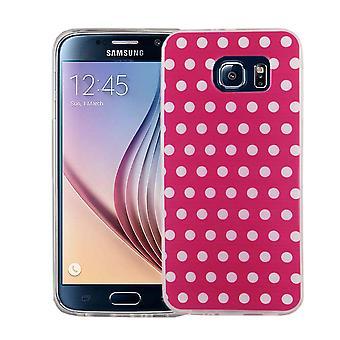 Handy Hülle für Samsung Galaxy S6 Cover Case Schutz Tasche Motiv Slim Silikon TPU Polka Dot Pink