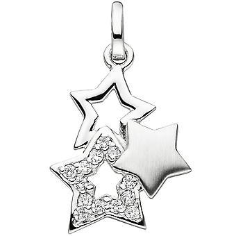 Anheng star star 925 sterlingsølv delen matt 13 kubikk zirconia sølv stjerner