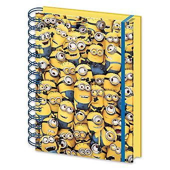 3 despicable me 3D notebook DIN A5 many minions lenticular hardcover with spiral binding, lined with rubber band.