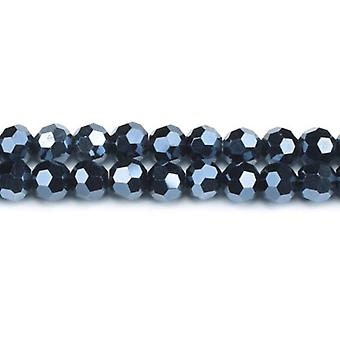 Strand 90+  Blue/Black Czech Crystal Glass 4mm Faceted Round Beads GC3550-1