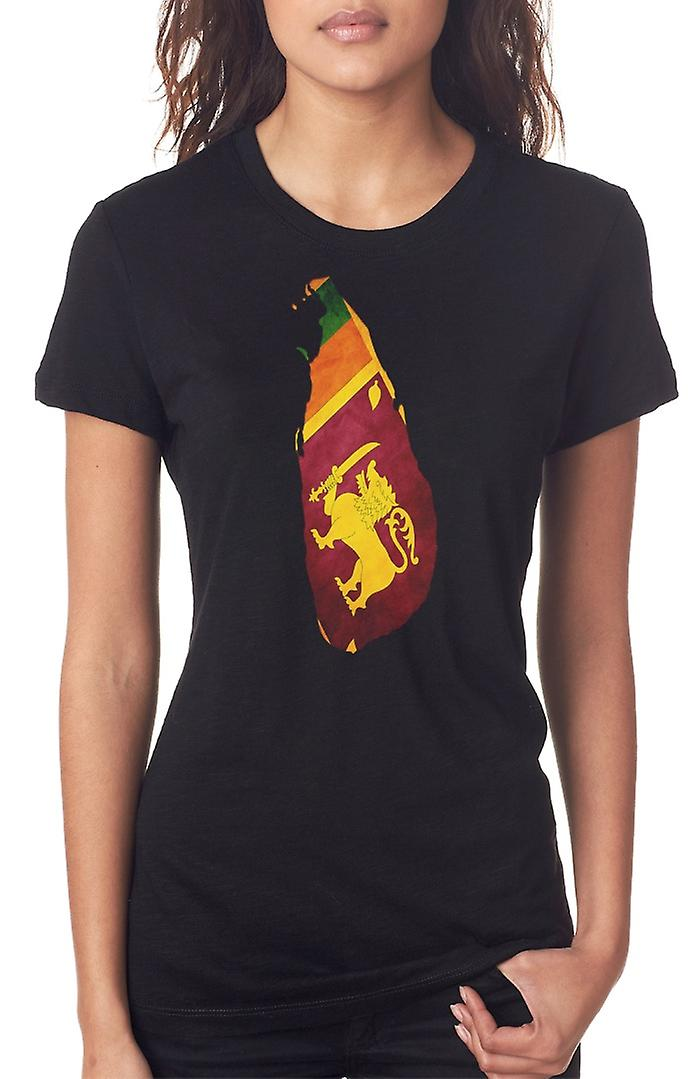 Sri Lanka Flag Map Ladies T Shirt