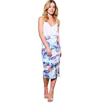 Style London Floral Pencil Skirt With Back Split And Zip Detail