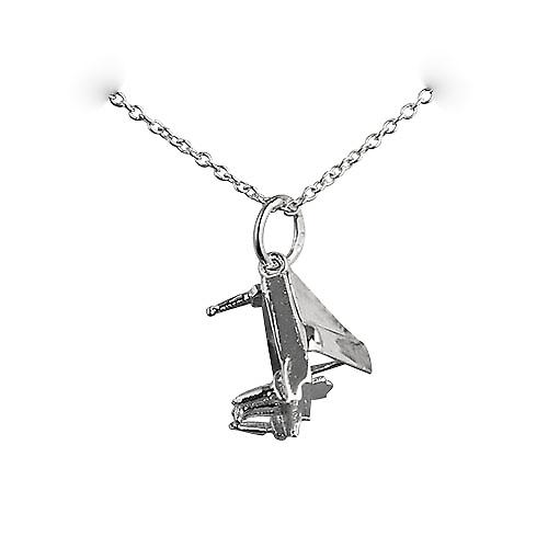 Silver 12x8mm open Grand piano Pendant with a rolo Chain 18 inches
