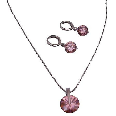 Rose Crystals Round Shaped Pendant & Earrings Set