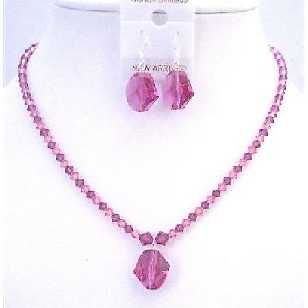 Swarovski Cosmic bead Pendant Earrings Rose & Fuchsia Crystals Jewelry