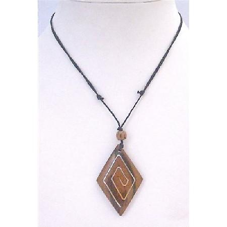 Ethnic Wooden Pendant Necklace Black Cord Adjustable Vintage Necklace