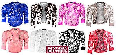 Womens Lace Cropped Bolero Cardigan Military Style Four Button Shrug