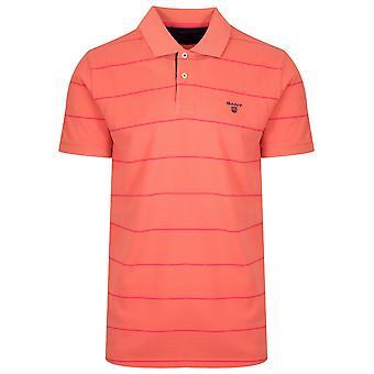 Gant GANT Coral Orange Striped Polo Shirt