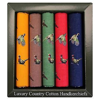 David Van Hagen Five Pack Pheasant Patterned Cotton Handkerchief - Multi-colour