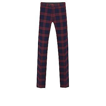 Dobell Mens Burgundy Tartan Suit Trousers Tailored Fit