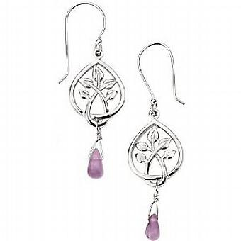 Elements Leaf Design Teardrop Earrings With Amethyst Bead E4071M  925 Silver