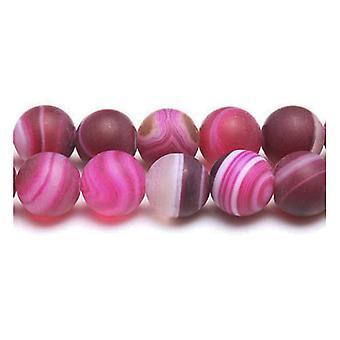 Strang 45 + Fuchsia gefrostet gebändert Achat 8mm einfache Runde Perlen Y07925