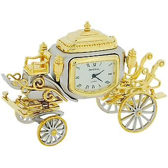 Miniature Two Tone Plated Royal State Coach Novelty Collectors Clock IMP1050