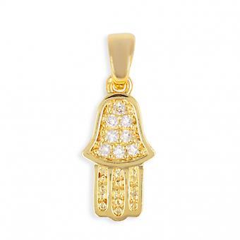 Fatima hand guldpläterad hänge med zirkonium kubik