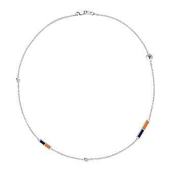Pepperdine University Pepperdine Logo Engraved Diamond 5-Station Necklace In Blue And Dark Orange