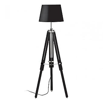 Premier Home Jasper Floor Lamp - EU Plug, Fabric, Wood, Black