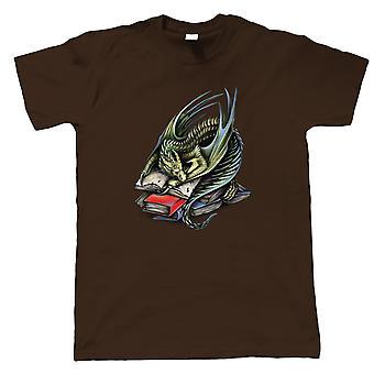 BookWyrm Herre T-shirt | Enhjørning drage havfrue fe varulv Pegasus Yeti | Ordbog roman udgiver skrivemaskine journalistik | Nørd fantasy gæstekunstner JG