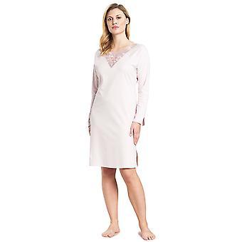 Feraud 3191003-11577 Women's High Class New Rose Pink Motif Cotton Night Gown Nightdress
