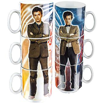 Doctor Who Tenth & Eleventh Doctors Stacked Mug Set