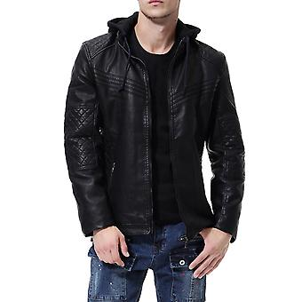 Allthemen Men's Leather Coat Slim Fit Detachable Hat Thickened PU Jacket