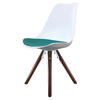 Fusion Living Eiffel Inspired White And Teal Dining Chair With Pyramid Dark Wood Legs