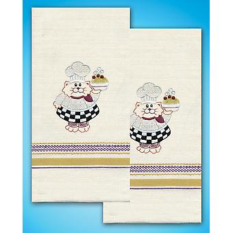 Stamped Kitchen Towels For Embroidery Cat Chef T212939