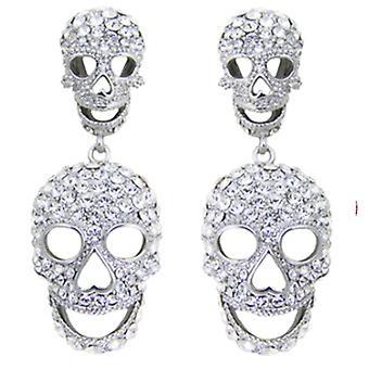 Butler & Wilson grote Double van de Crystal Skull Drop Oorbellen