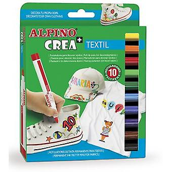 Alpino Alpine creates 10 Markers Textile (Toys , School Zone , Drawing And Color)