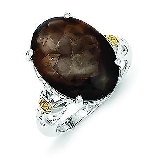 Sterling Silver With 14k Smokey Quartz Ring - Ring Size: 6 to 8