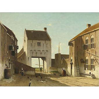 A Town Gate In Leerdam By Jan Weissenbruch C 1868-70 Dutch Painting Oil On Canvas Poster Print