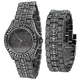 High quality MONARCH FULL ICED watch + bracelet black