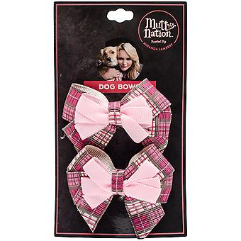 Miranda Lambert's Mutt Nation Dog Bow Set-Pink Plaid FP8784ST
