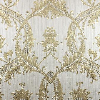 Damask Wallpaper Glitter Textured Vinyl Heavyweight Italian Cream Gold Milano