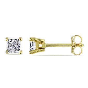 Princess Cut Diamond Solitaire Stud Earrings 1/2 Carat (ctw) 14K Yellow Gold